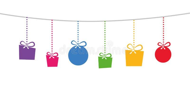 五颜六色圣诞节装饰礼物垂悬 库存例证