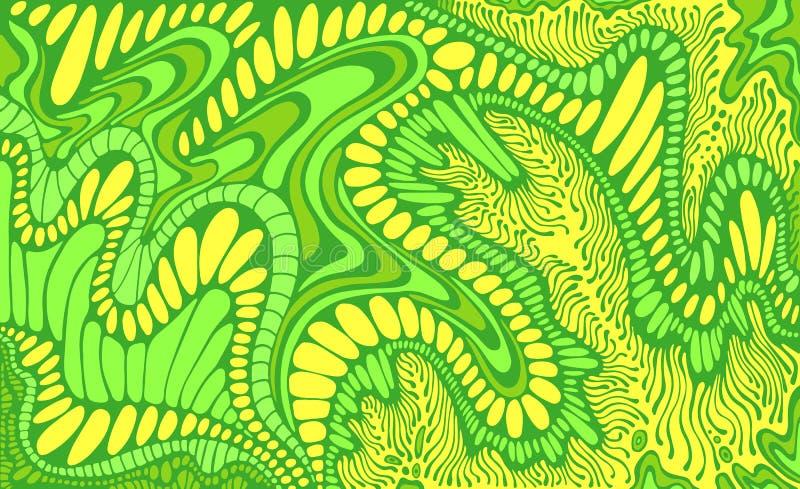 五颜六色在绿色和黄色palete颜色幻想摘要乱画线样式 传染媒介手拉的荧光的装饰品 皇族释放例证