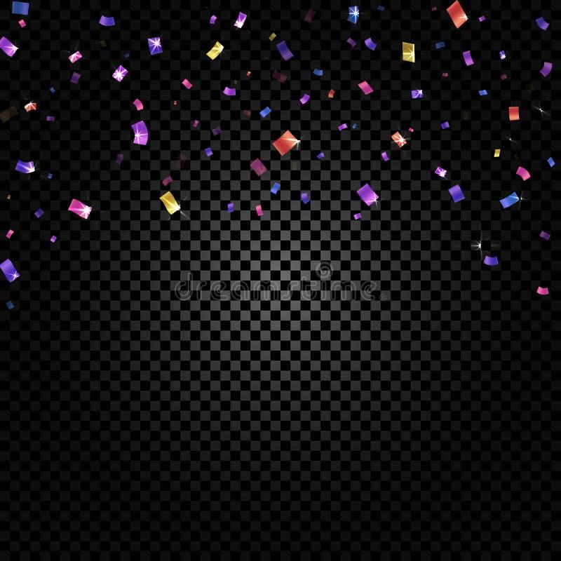五颜六色在黑透明背景传染媒介例证的五彩纸屑落和丝带 党,节日,节日 皇族释放例证