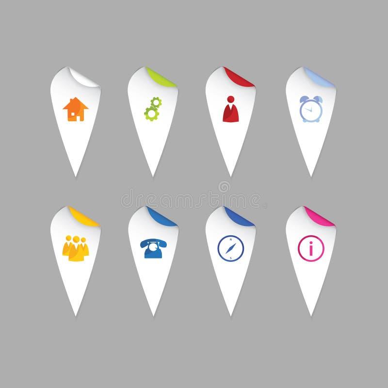 五颜六色地图尖。现代设计贴纸-网的标记 皇族释放例证