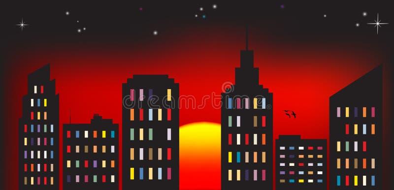 五颜六色城市的日落 向量例证