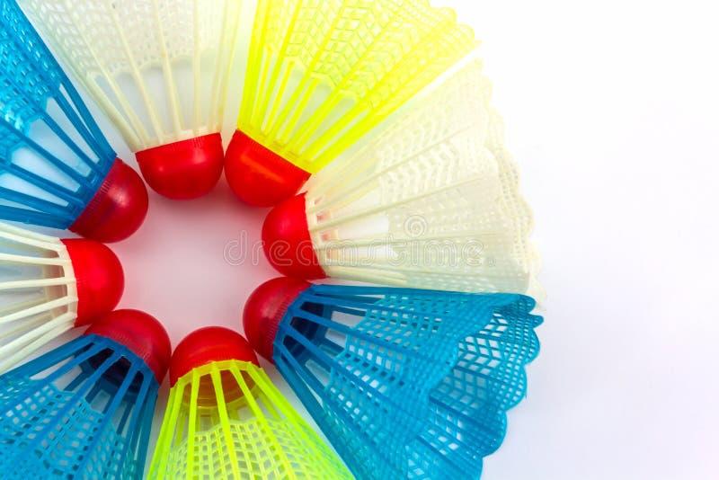 五颜六色塑料shuttlecocks玩具 免版税库存照片