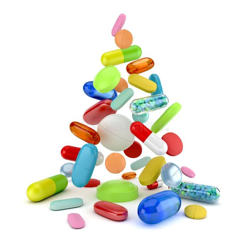 五颜六色处方药片落 向量例证