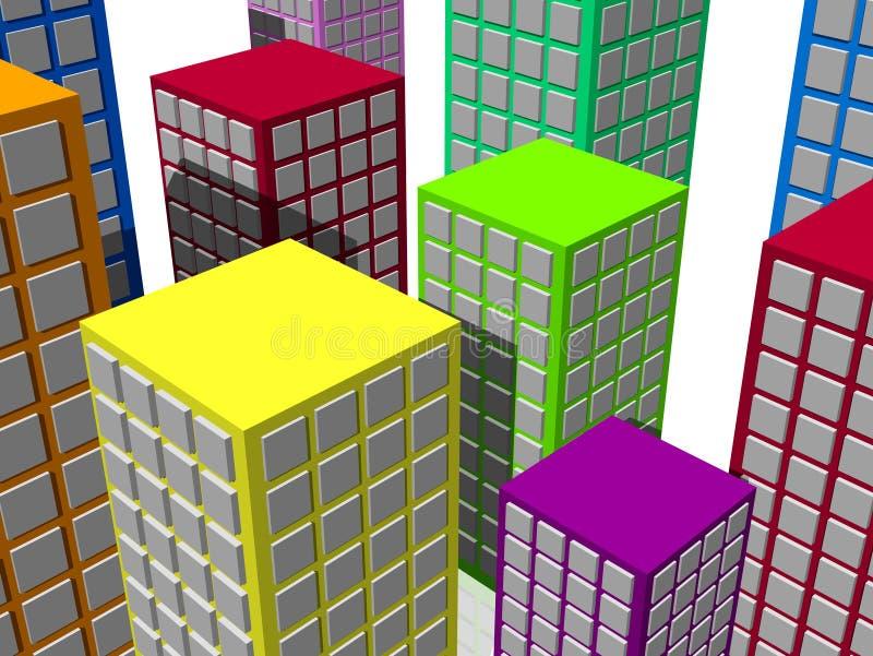 五颜六色抽象的城市 向量例证