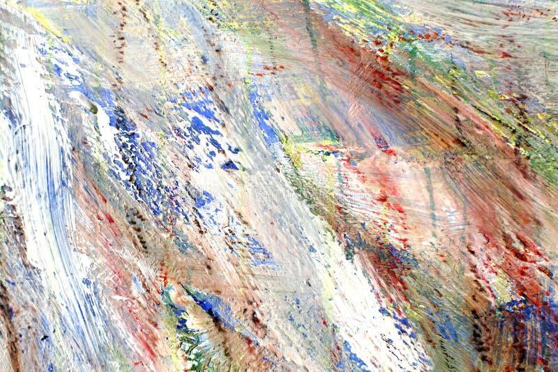 五颜六色抽象的背景 油漆冲程  在帆布的混合的色的斑点 免版税库存图片
