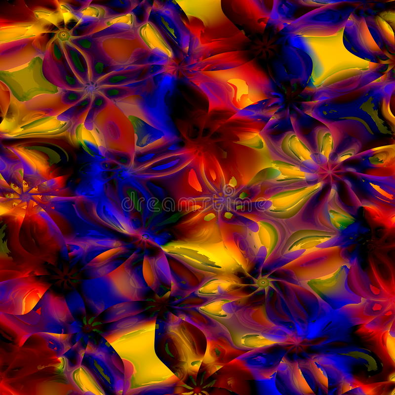 五颜六色抽象派的背景 计算机生成的花卉分数维样式 数字式设计例证 创造性的色的图象 库存例证