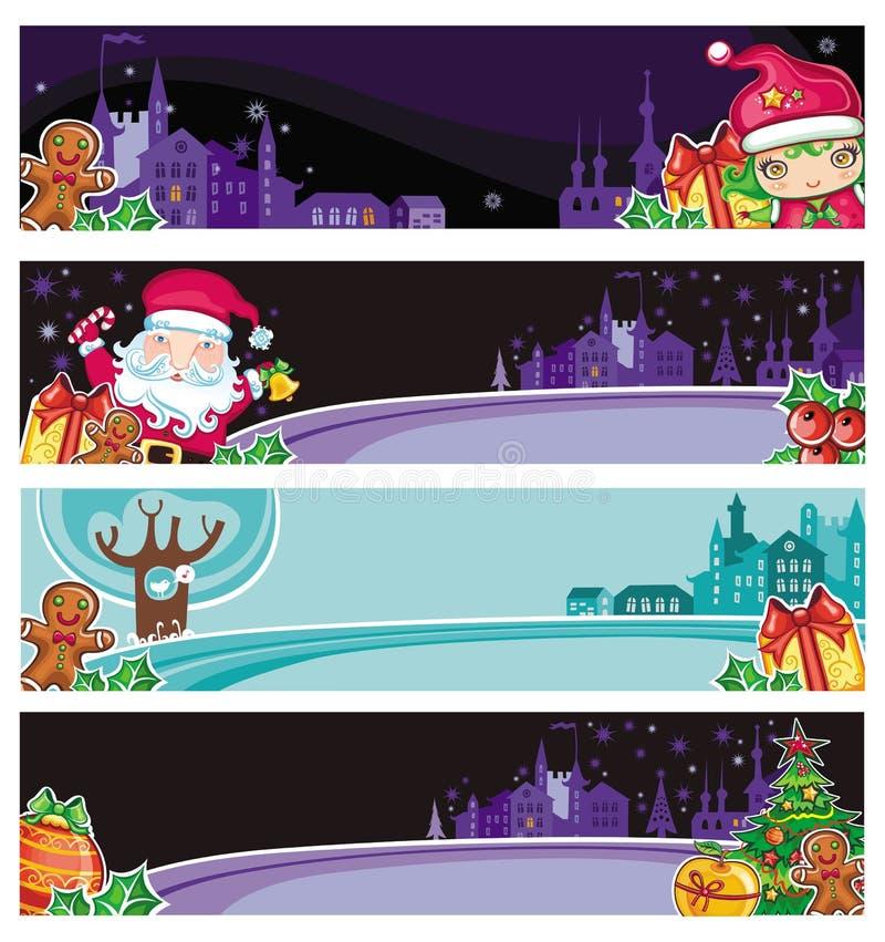 五颜六色横幅的圣诞节 向量例证