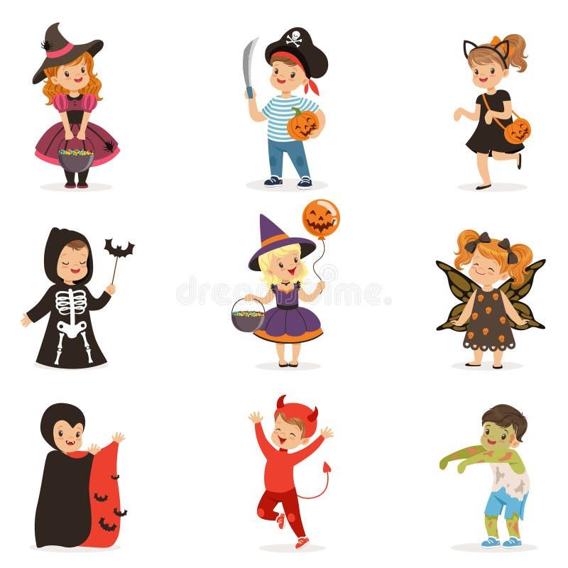 五颜六色的万圣夜服装的犹特人小孩设置,万圣夜儿童把戏或款待传染媒介例证 皇族释放例证