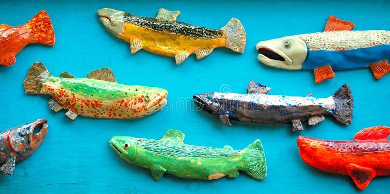 五颜六色的三文鱼艺术 库存图片