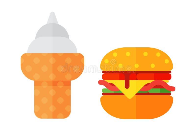 五颜六色的三明治动画片快餐象餐馆鲜美美国乳酪汉堡肉和不健康的冰淇凌 向量例证