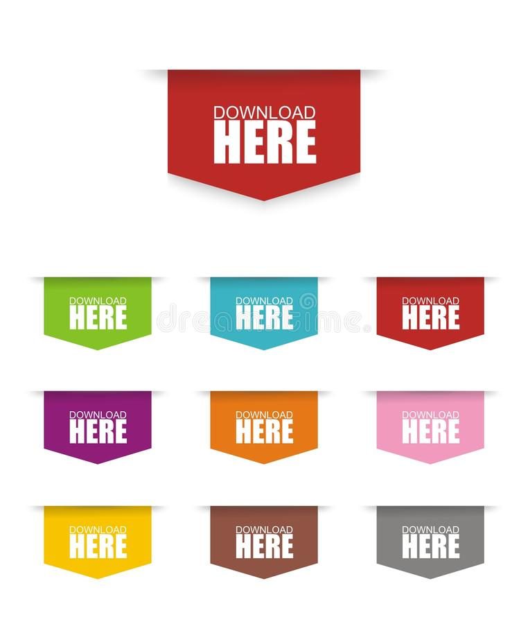 五颜六色的下载按钮 向量例证