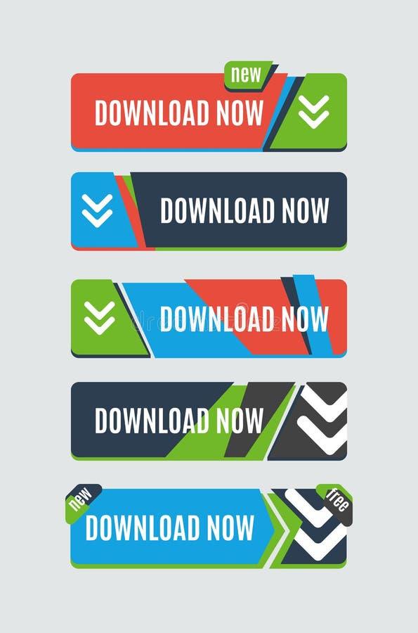 五颜六色的下载网按钮 现代平的设计 向量例证