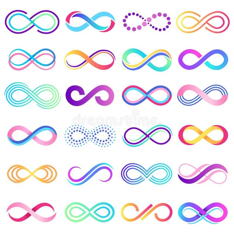 五颜六色的不尽的标志 无限标志、不可限量的麦比乌斯带和无限循环可能性传染媒介概念 向量例证