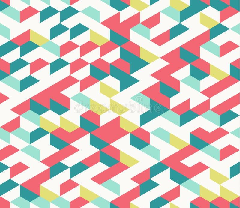 五颜六色的不规则的与六角形的传染媒介摘要几何无缝的样式 皇族释放例证