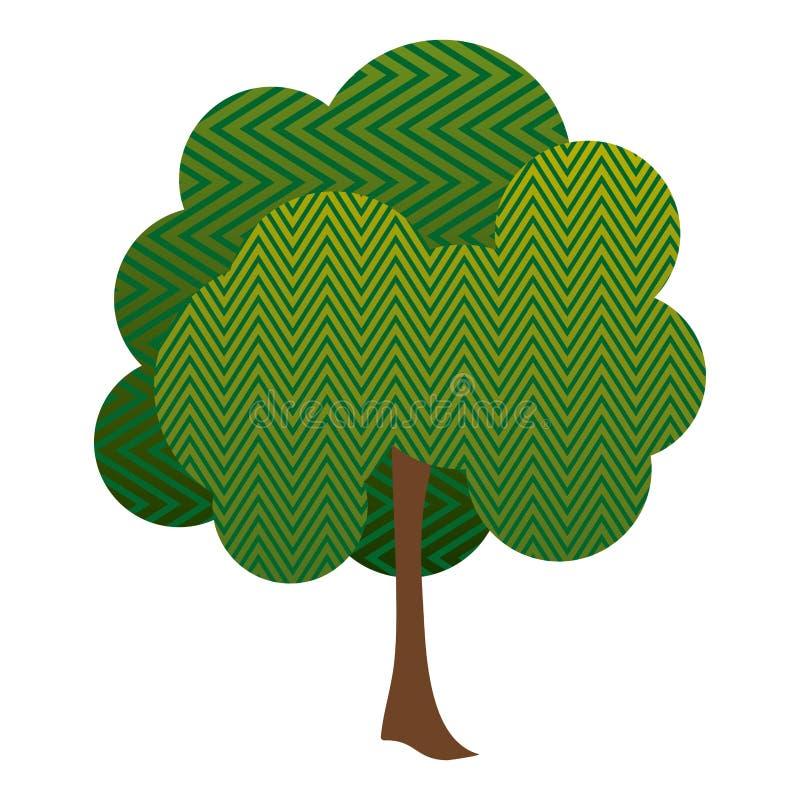 五颜六色的与之字形线的剪影叶茂盛树 库存例证