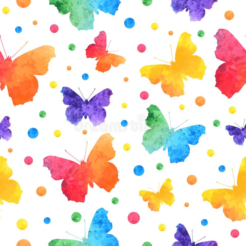 五颜六色的与在白色背景隔绝的逗人喜爱的蝴蝶的水彩无缝的样式 EPS10 免版税库存照片