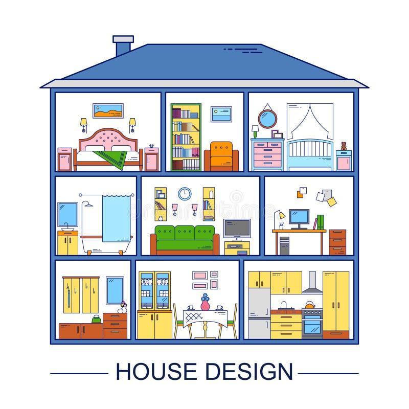 五颜六色的与室内设计元素的线型infographics 也corel凹道例证向量 家具内部图表 向量例证