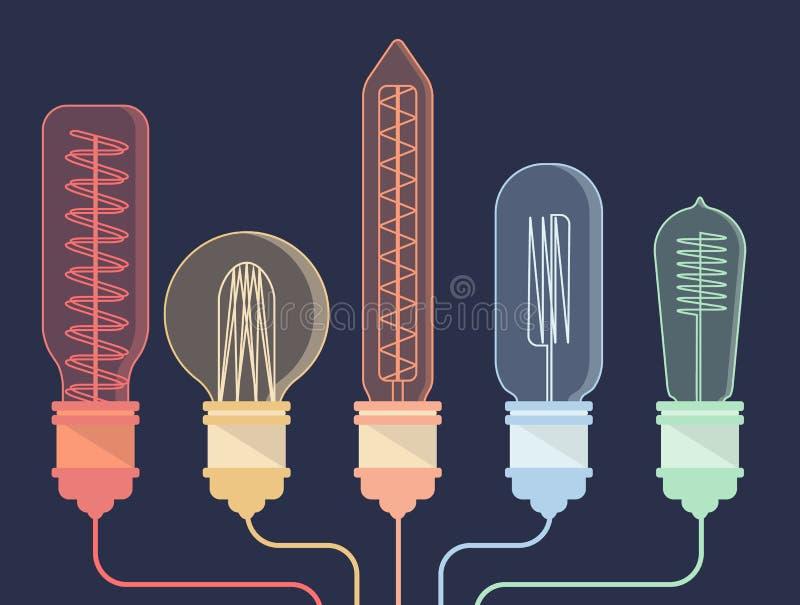 五颜六色的与导线的葡萄酒电灯泡 向量例证