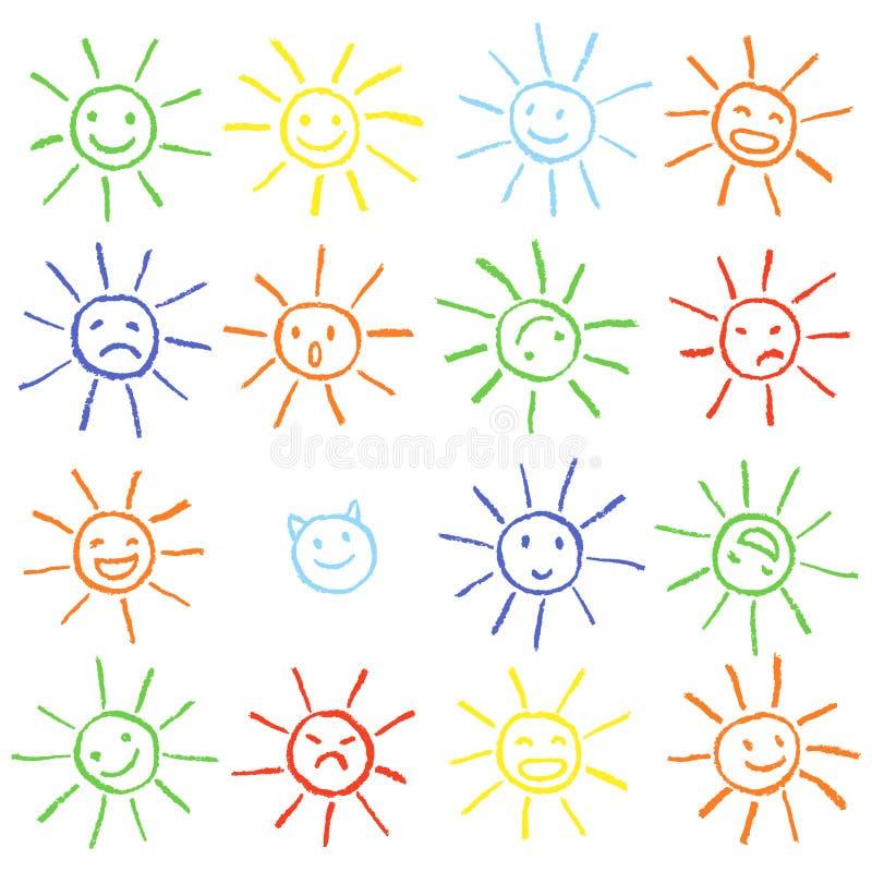 五颜六色的与微笑的蜡笔白垩滑稽的太阳 五颜六色的淡色白垩手拉的套愉快,高兴,愉快,恼怒,哀伤,面对太阳 库存例证