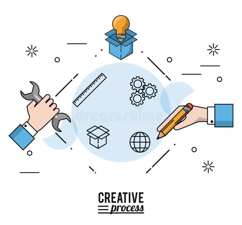 五颜六色的与手剪影的海报创造性的过程有板钳和pencial和电灯泡的在纸板箱 皇族释放例证