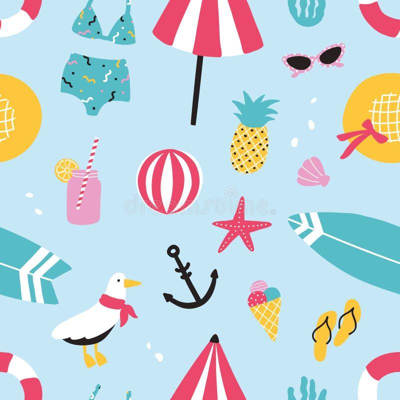 五颜六色的与手拉的元素菠萝,冰淇凌,海鸥,冲浪板,球,游泳衣,帽子的夏天无缝的样式 库存例证