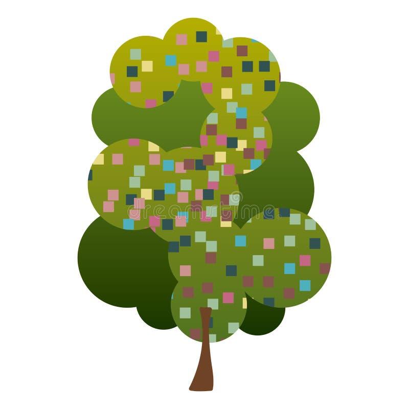 五颜六色的与映象点正方形的剪影叶茂盛树 库存例证
