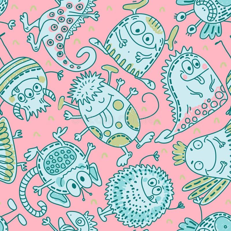 五颜六色的与滑稽的妖怪的传染媒介无缝的样式 库存例证
