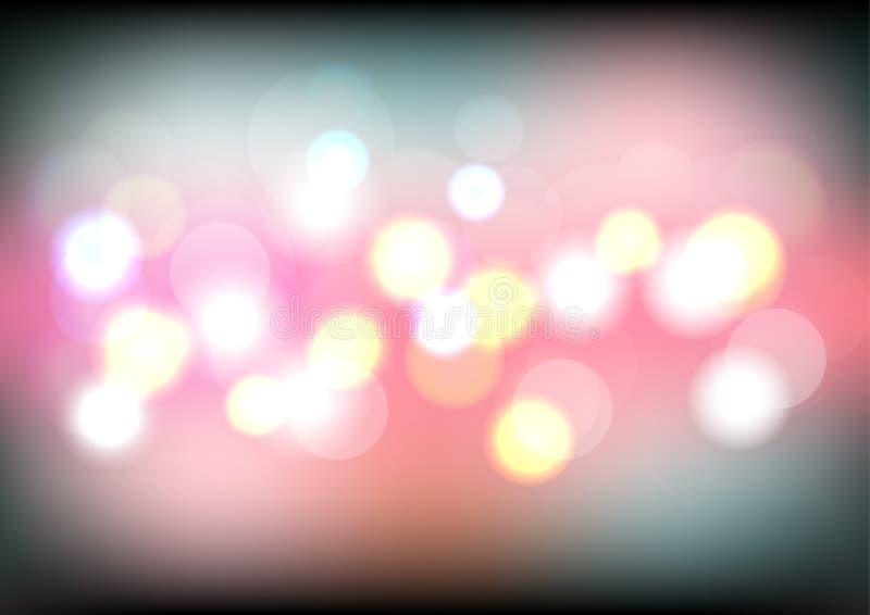 五颜六色的与被弄脏的defocused光的bokeh轻的背景 夜光背景 库存例证