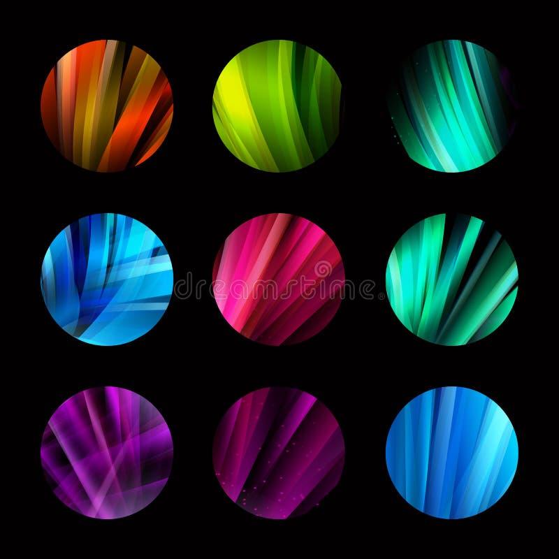 五颜六色的与被设置的线的圈子摘要五颜六色的结构商标 未来形状发展设计 皇族释放例证