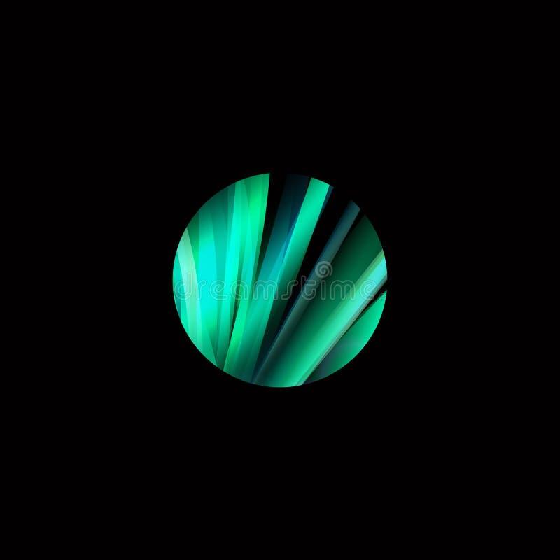 五颜六色的与被设置的线的圈子摘要五颜六色的结构商标 未来形状发展设计 向量例证