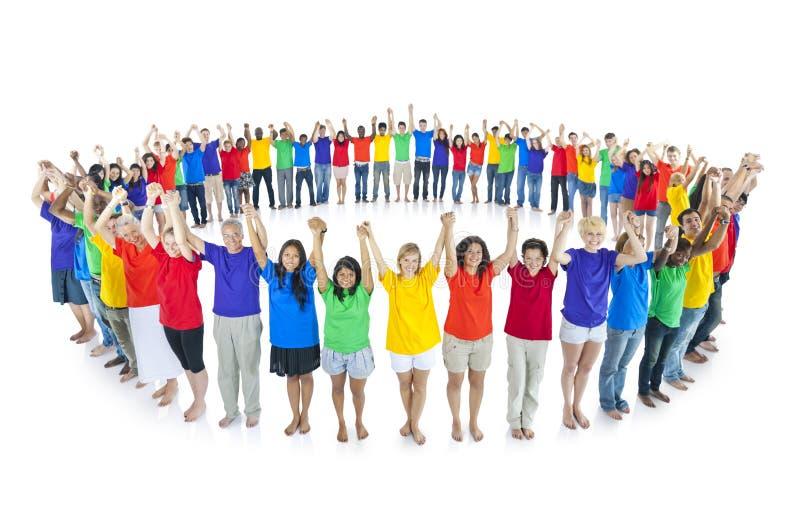 五颜六色的世界一起团结的公共概念 免版税图库摄影
