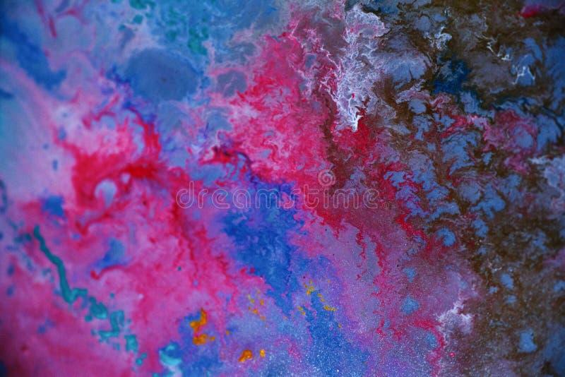 五颜六色的丙烯酸漆污点特写镜头宏指令 库存照片