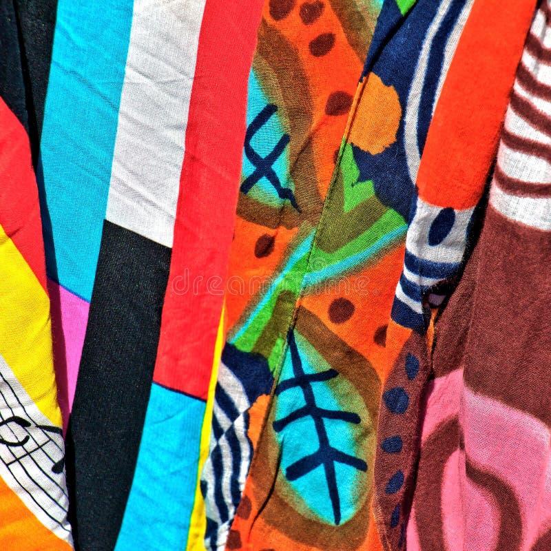 五颜六色的丝织物样品  免版税库存图片