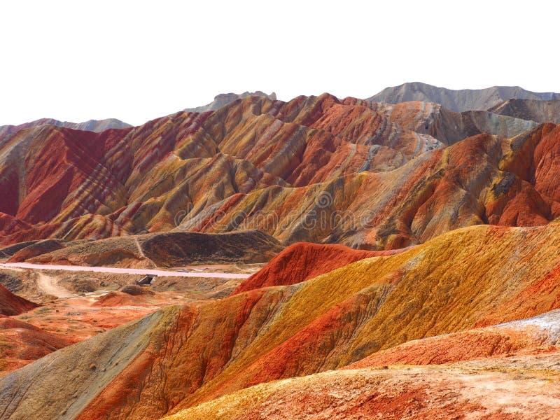 五颜六色的丹霞地势,张掖,甘肃,中国 免版税图库摄影
