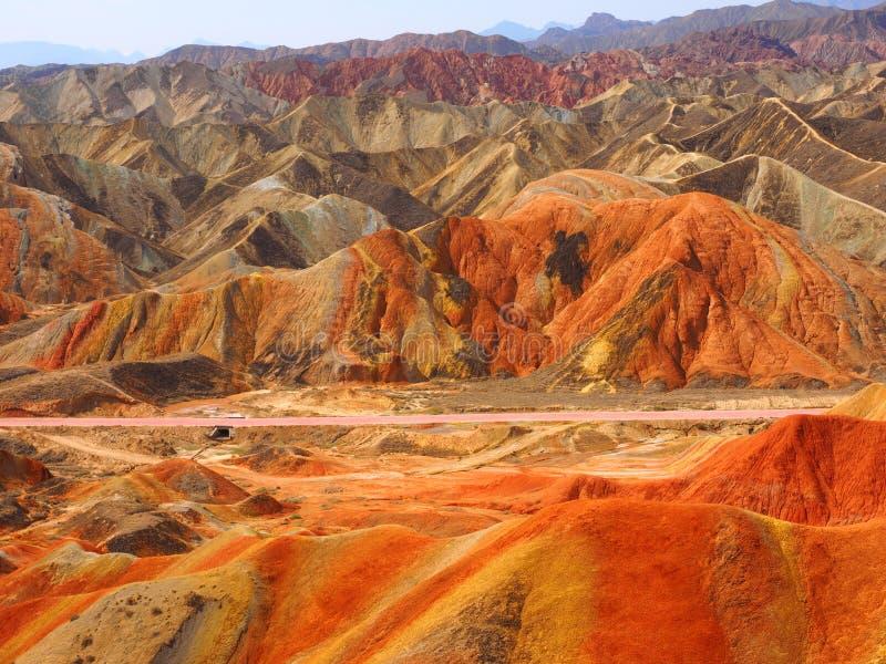 五颜六色的丹霞地势,张掖,甘肃,中国 库存照片