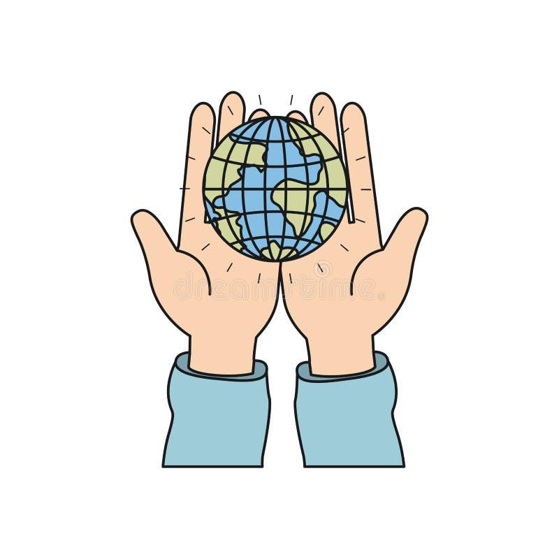 五颜六色的举行在棕榈地球地球世界慈善标志的手剪影正面图  向量例证