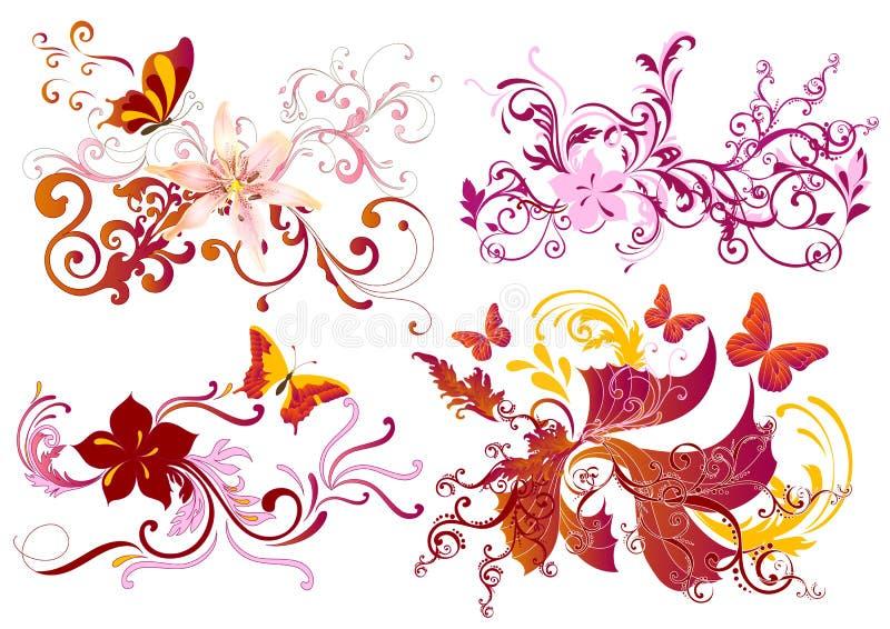 五颜六色的书法花卉元素集 皇族释放例证