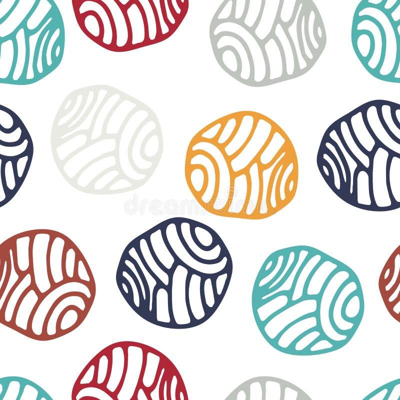 五颜六色的乱画圆点背景 抽象圆的无缝的样式 向量例证