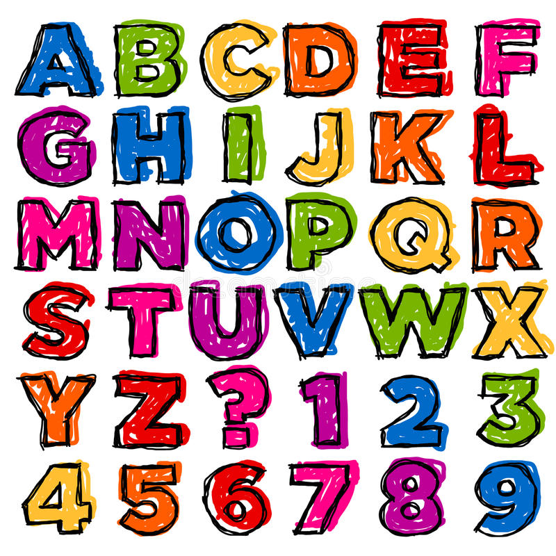 五颜六色的乱画字母表和编号 皇族释放例证