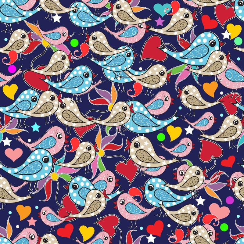五颜六色的乱画手拉的鸟,爱心脏,佩兹利开花s 皇族释放例证