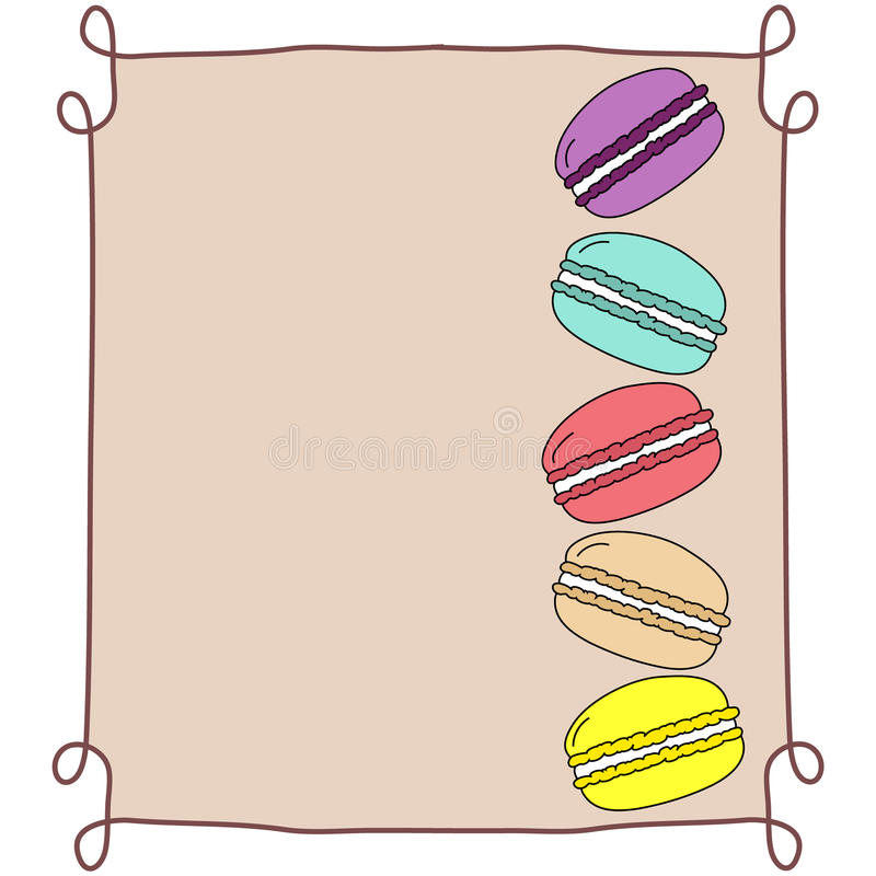 五颜六色的乱画手拉的蛋白杏仁饼干,堆积,在米黄背景的葡萄酒框架,拷贝空间,面包店的,点心菜单模板 向量例证
