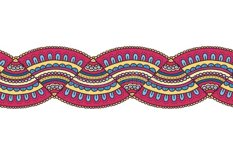 五颜六色的乱画装饰品边界 明亮的无缝的模式 库存例证