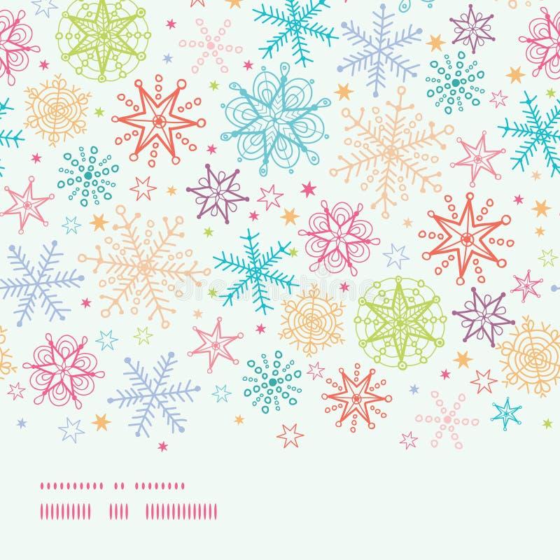 五颜六色的乱画雪花水平的边界 库存例证