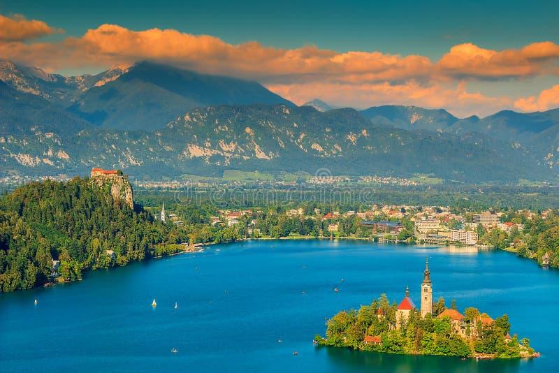 五颜六色的云彩和流血的湖全景,斯洛文尼亚,欧洲 免版税库存照片
