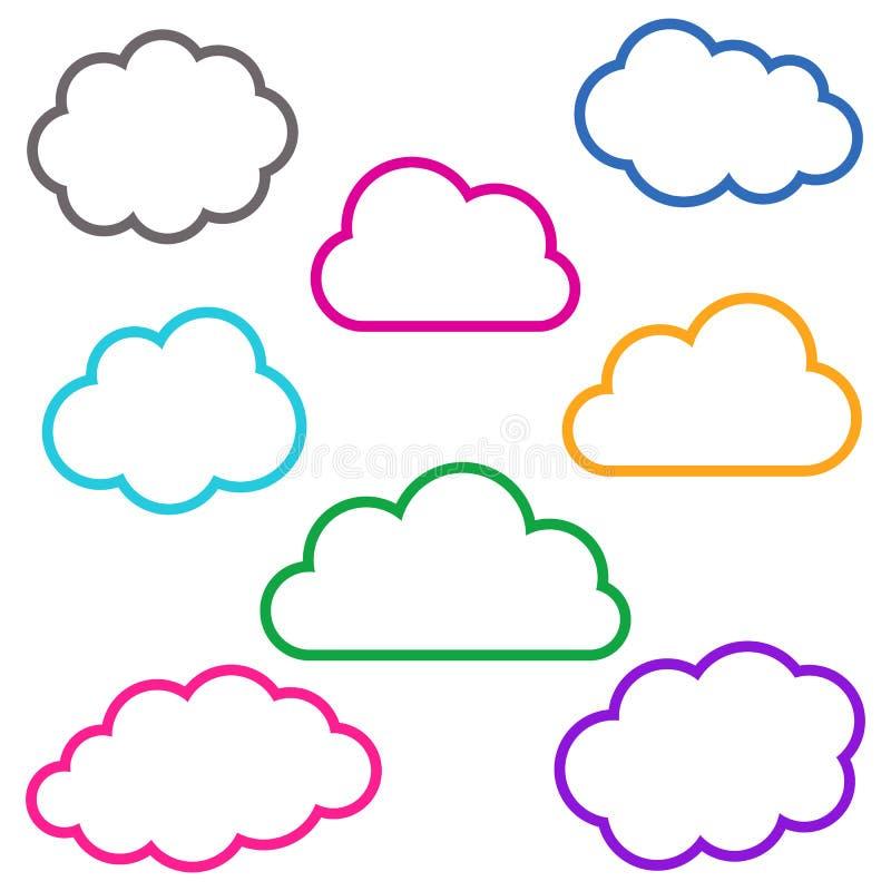 五颜六色的云彩概述汇集 库存例证