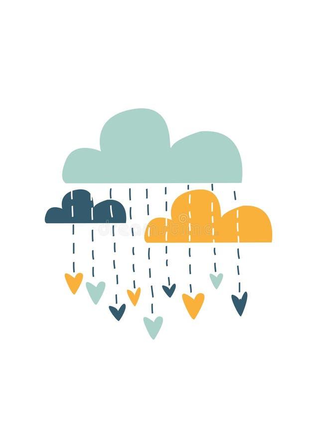 五颜六色的云彩,传染媒介例证 免版税库存图片