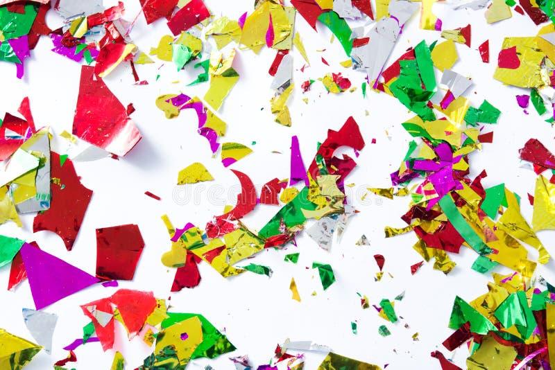 五颜六色的五彩纸屑顶视图 党概念 免版税库存照片