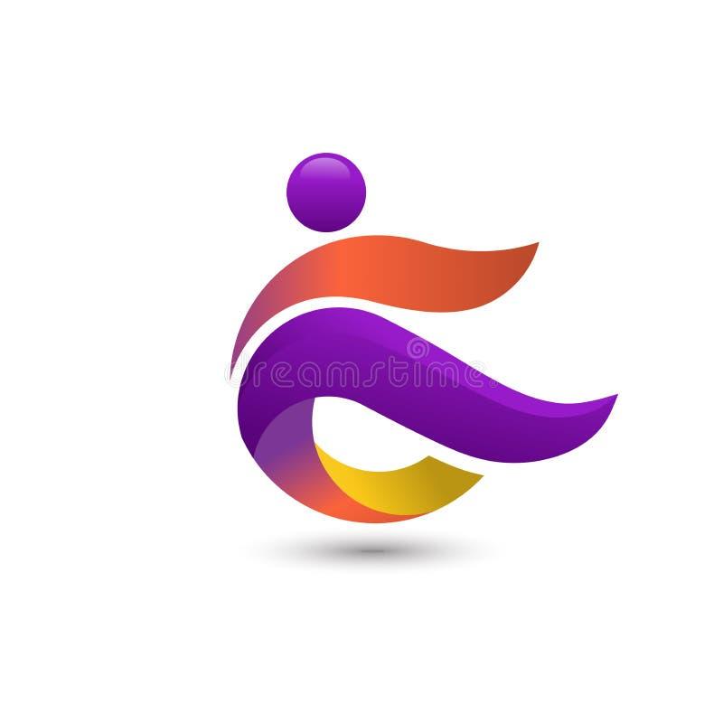 五颜六色的人商标,教练健身商标概念 皇族释放例证