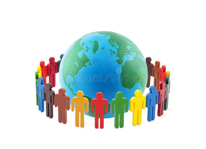 五颜六色的人民圈子世界各地 库存图片