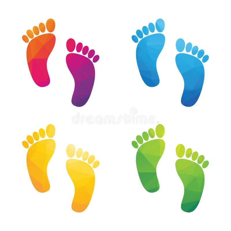 五颜六色的人的脚印 向量例证 插画 包括有 查出 几何 形状 组成 背包 屏幕 脚印 例证